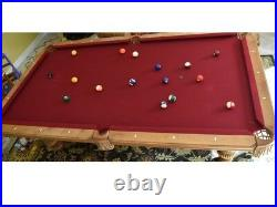 Olhausen, Pool table billiard 8 ft, three piece slate with accessories, red felt