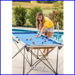 POOL TABLE 6' Portable Foldable Billiard Game Set Blue Accessories Included