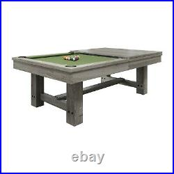 Penelope Silver Mist Pool Table 8' with Dining Top & 2 Matching Benches FREE Ship