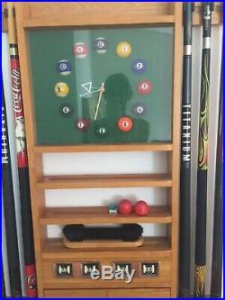 Pool Table! Includes cues, balls, Cue Wall Rack, clock. Billiards