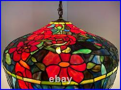 Pool Table Lamp Tiffany Style Stained Glass Blue Red 25 Hanging Ceiling Light