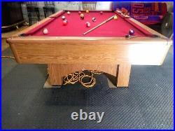 Pool Table, Red Felt, 8 Foot, Used