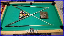 Pool table slate 7 ft x 4 ft with accessories green top mint condition