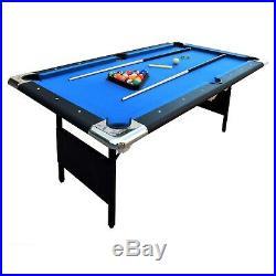 Portable Pool Table 6 Ft Indoor Billiard Easy Folding Storage Balls Cues Chalk