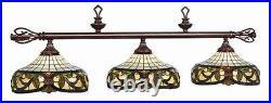 RAM Pool Table Lights Billiards Lighting 34-B60 Three 3 Globes Stained Glass