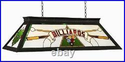RAM Pool Table Lights Billiards Lighting KD GREEN Three 4 Bulbs Stained Glass