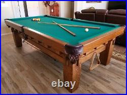 Rare, handcrafted billiards/pool table, 1905 Monarch 9' x 5'