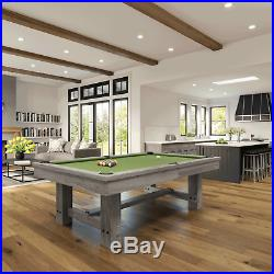 Reno Silver Mist Pool Table 8' with Dining Top & 2 Matching Benches FREE Shipping