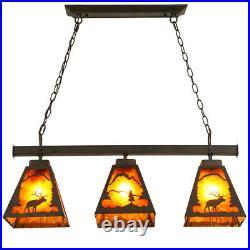 Rustic Rust Metal 3-Light Island Ceiling Pendant Lamp Fixture with Deer Pattern