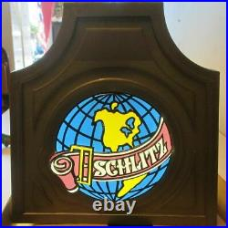 Schlitz Beer Hanging Light Faux Stained Glass Pool Table Style 4ft Damaged