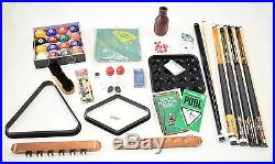 Set of 4 Pool Cues Pool Table Deluxe Billiard Accessory Kit Bridge Balls Rack