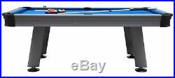 THE FLORIDA 8 FOOT ALL WEATHER OUTDOOR POOL TABLE SILVER withBLUE CLOTH & ACCS