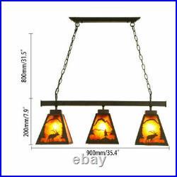 USA Rustic Metal 3-Light Island Ceiling Pendant Lamp Fixture with Deer Pattern