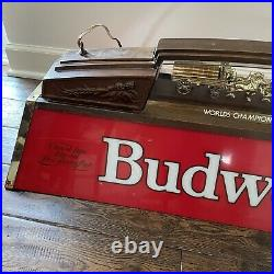 VINTAGE BUDWEISER POOL TABLE Light Sign Beer 80s Clydesdales Bar Tested Man Cave