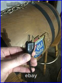 VINTAGE Old Style Beer Barrel Poker/Pool Table Light LOCAL PICKUP ONLY