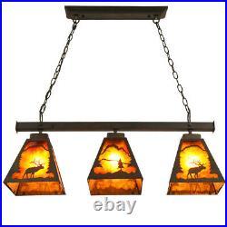 Vinatge 3-Light Dining Island Pool Table Ceiling Pendant Light&Amber Mica Shade