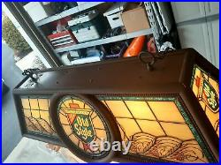 Vintage 1988 Old Style Beer Pool Table Light With Round Logo Nice