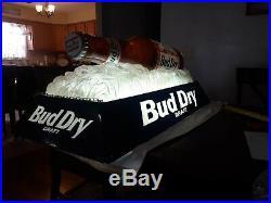 Vintage Budweiser Beer Bottle ON ICE Bud Dry Billiards Pool Table Hanging Light