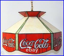 Vintage Coca Cola Stained Glass Tiffany Style Hanging Lamp Bar Pool Table Light