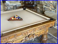 Vintage Hand Carved Pool Table Designed & Made By Artist Don Francisco Anchondo