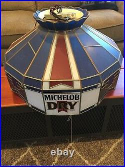 Vintage Michelob Dry Beer Hanging Poker Pool Table Bar Light