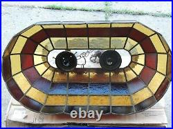 Vintage Tiffany Style Leaded Stained Glass Hanging Pool Table Light
