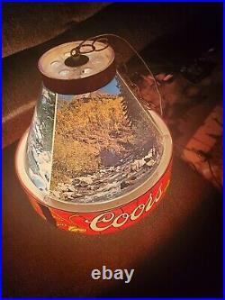 Vtg 1960's Coors Beer Mountain Scenes Poker Pool Table Light Sign Hanging Works