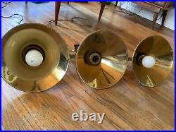 Vtg brass billiards 3 Light Cone shade Lamp Pool Table Metal light Fixture