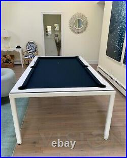 White 7' Modern Convertible Pool Billiard Table'Ultra' dining/desk/game table